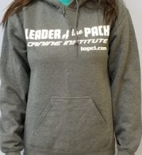 Leader of the Pack Canine Institute gray sweatshirt, front view